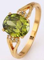 Кольцо позолота с оливковым цирконом Размер 17 (gf680