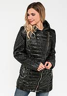 Удлиненная демисезонная женская куртка косуха на синтепоне Modniy Oazis черная 9097/2, фото 1