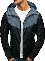 Ветровка курточка мужская весенняя/осенняя, цвет серо-черный
