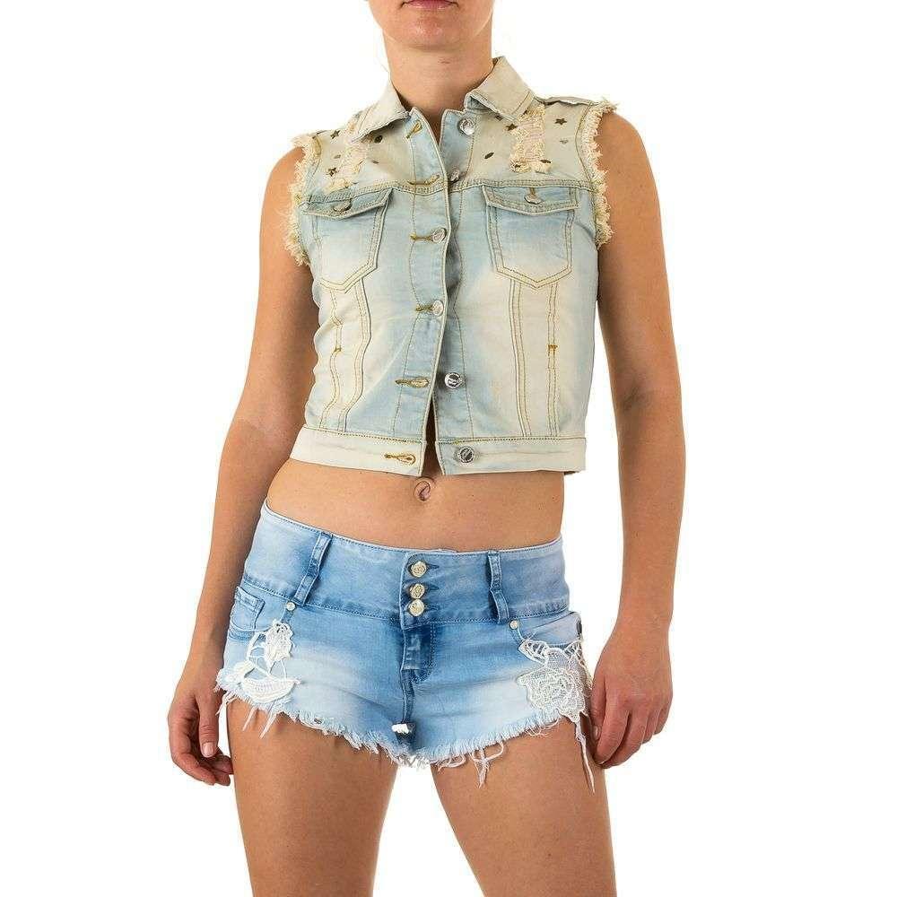 65556fa1b4ea Женская джинсовая жилетка рваная от Realty Jeans (Европа), Голубой/Хаки  купить оптом в ...