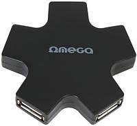 USB-хаб Omega 4 Port USB 2.0 Hub Star Black