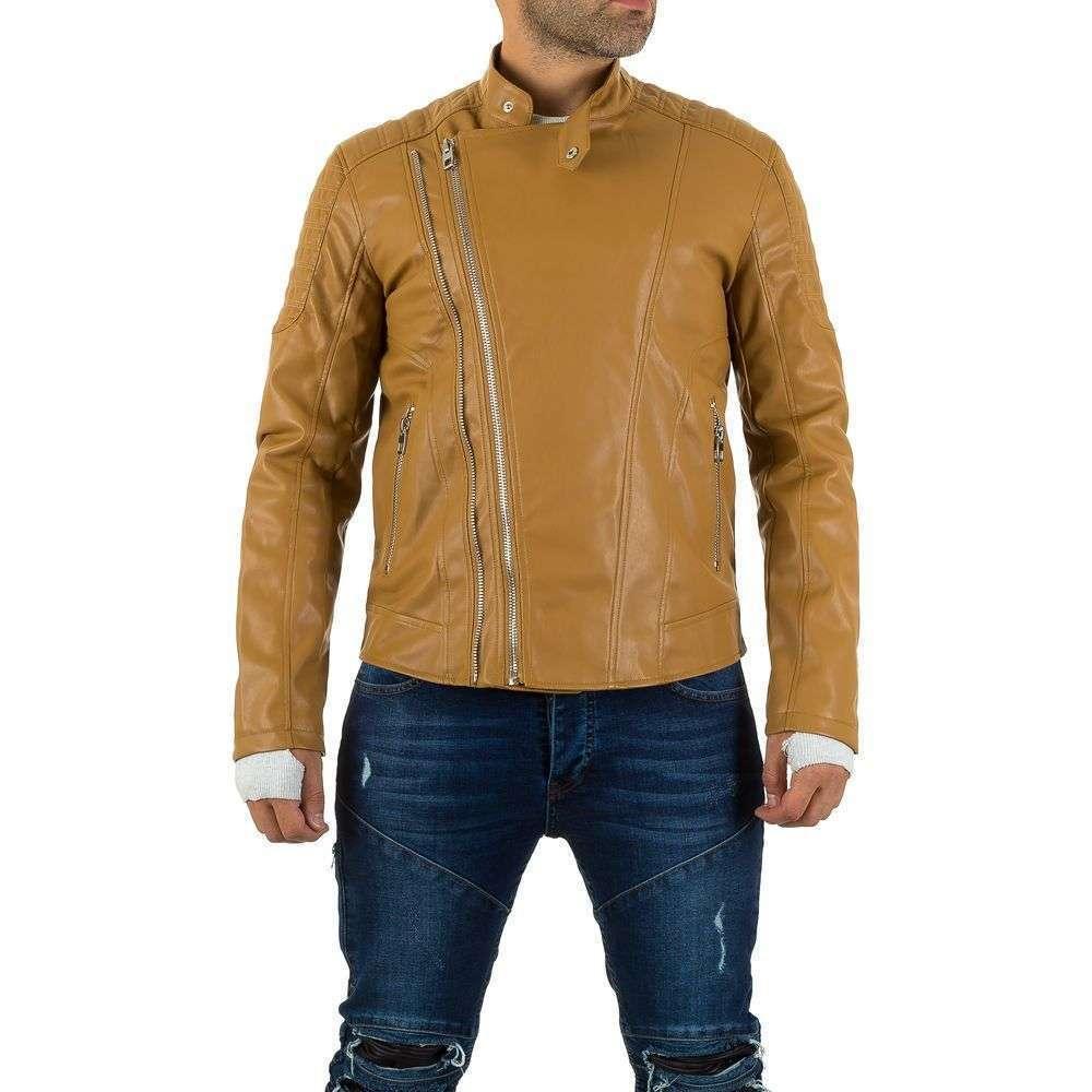 Куртка мужская байкерская из экокожи Uniplay (Европа), Песочный