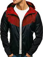 Ветровка курточка мужская весенняя/осенняя, цвет красно-черный