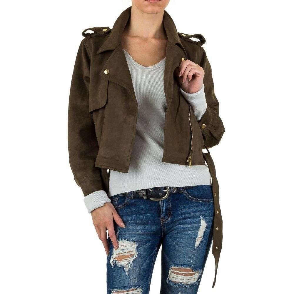 Куртка женская байкерская с поясом и погонами (Европа), Хаки
