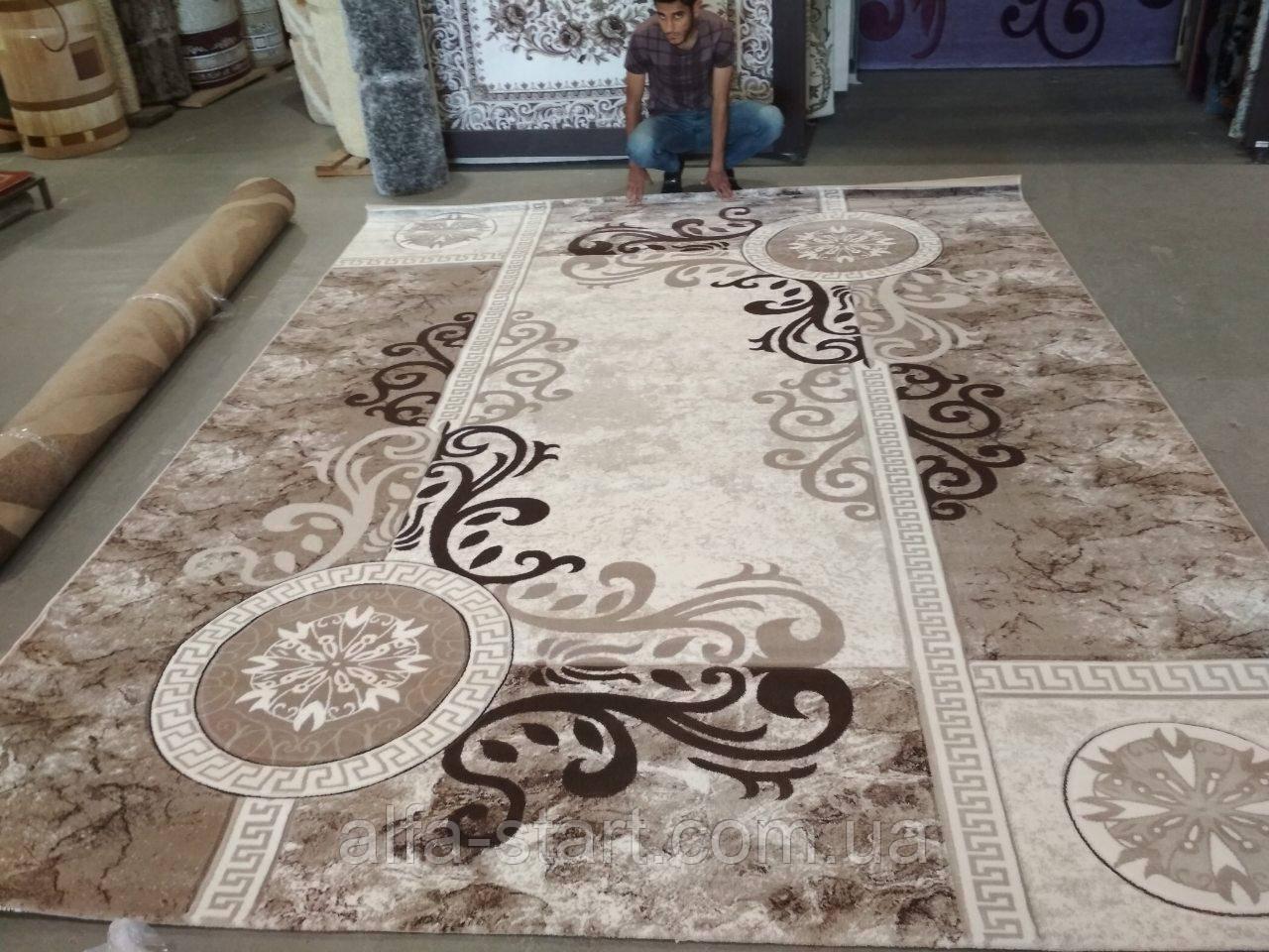 Светлый бежевый ковёр рисунок Узоры размер 2/3м