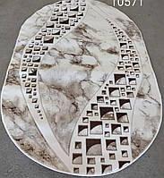 Светлый бежевый овальный ковёр рисунок Мрамор размер 3/4