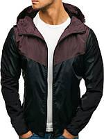 Ветровка курточка мужская весенняя/осенняя, цвет бордо-черный
