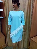 Туника-платье с оборкой, цвет серый