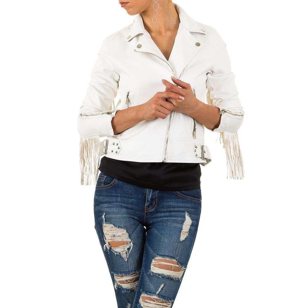 Куртка из экокожи с бахромой женская Noemi Kent (Франция), Белый