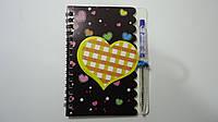 """Блокнот детский с ручкой 3D """"Сердце Love"""" А6,пружина,линия,цветные листы.Блокнот детский с ручкой.Блокнот дитя"""