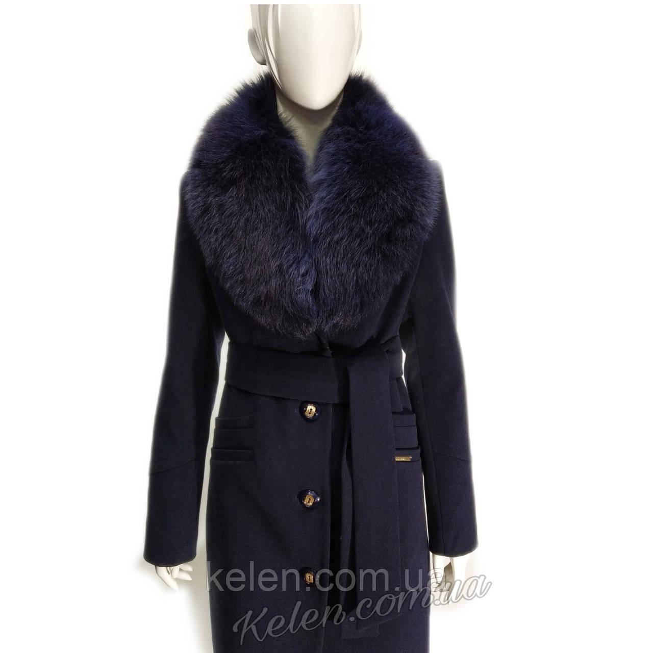Стильное кешемировое пальто ,зима с мехом