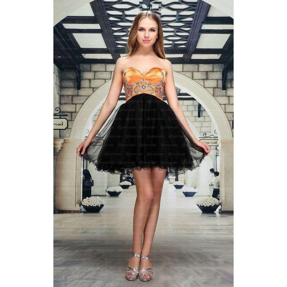 Женское платье от Festamo - оранжевый - Мкл-F1351-оранжевый