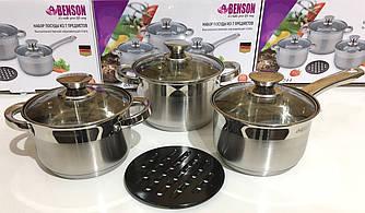 Набор посуды Benson BN-244 7 пр: Ковш 2.1л , Кастрюли с крышкой 2.1 , 3.0 л, Жаропрочная балитовая подставка