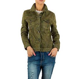 Джинсовая камуфляжная куртка с цветочным принтом Voyelles Collection (Италия), Хаки