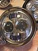 Кастом классическая хром круглая Led мото фара Harley Davidson с подсветкой (Chopper, Bobber, Cafe Racer), фото 4