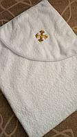 Крыжма (полотенце-уголок) для крещения махровая с вышивкой золотом, крестильное полотенце