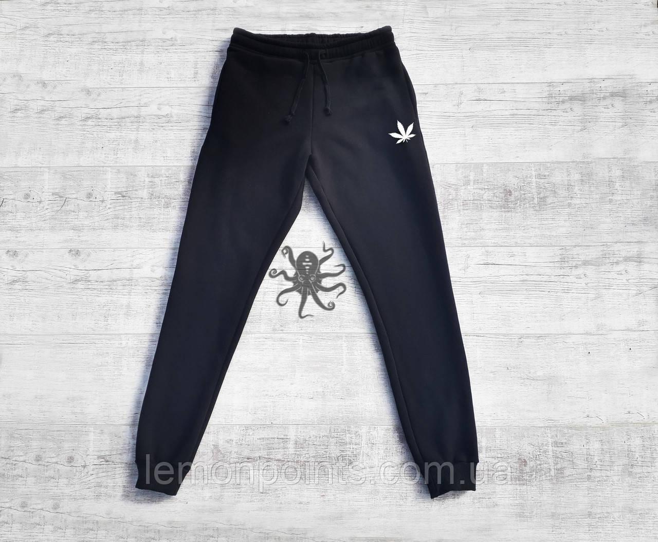 Мужские спортивные штаны, чоловічі спортивні штани Марихуана черные