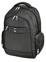 Спортивный рюкзак 3894 black черный из нейлона с плотной спинкой, фото 1