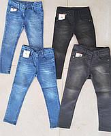 Джинсы для девочки 8-12 лет синего, серого цвета с напылением оптом