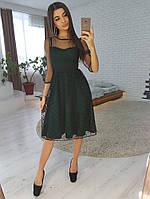 8bc4b50eff7 Зеленое платье миди с юбкой из сетки -добби