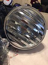 Кастом классическая круглая  мото фара с решеткой (Chopper, Bobber, Cafe Racer), фото 2