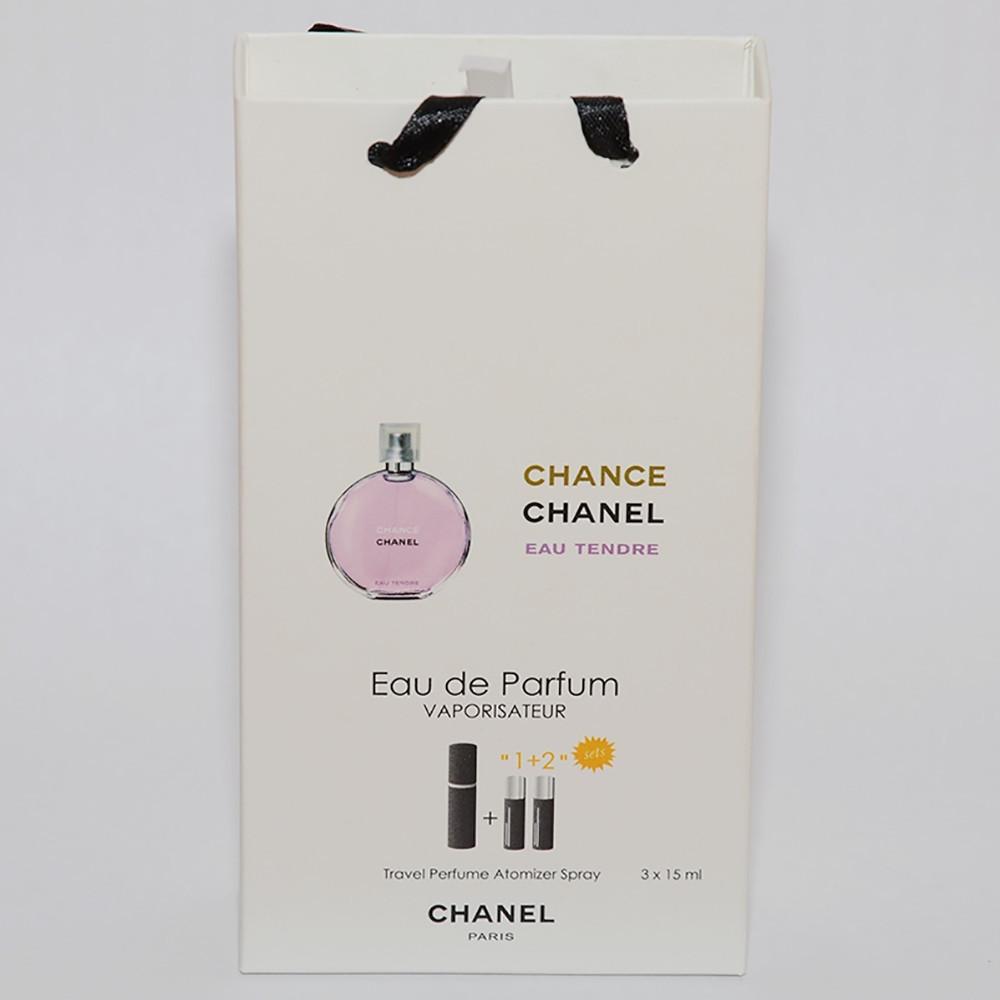 Мини парфюмерия женская Chanel Chance Eau Tendre в подарочной упаковке 3х15 ml