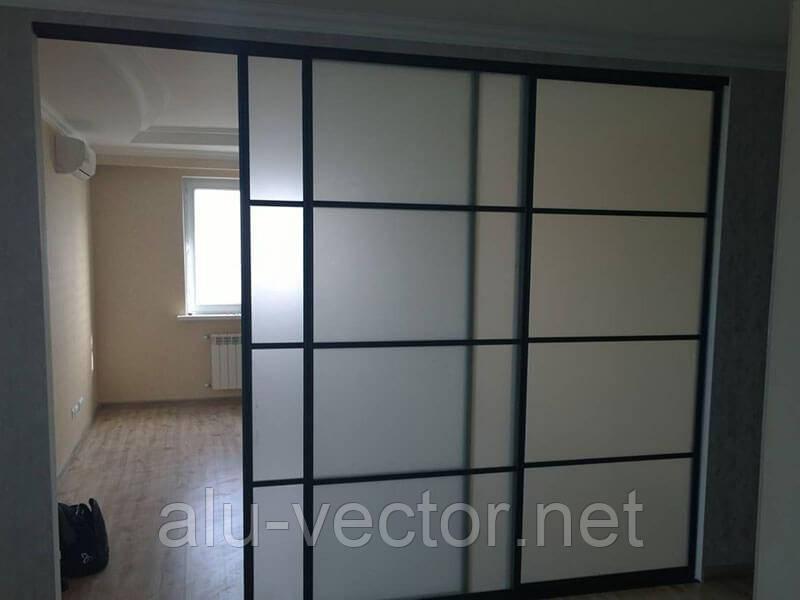 Двери-купе со стеклом сатин