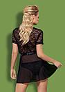 Халат женский черный короткий полупрозрачный с кружевом трусики в комплекте Obsessive Swanit, фото 3