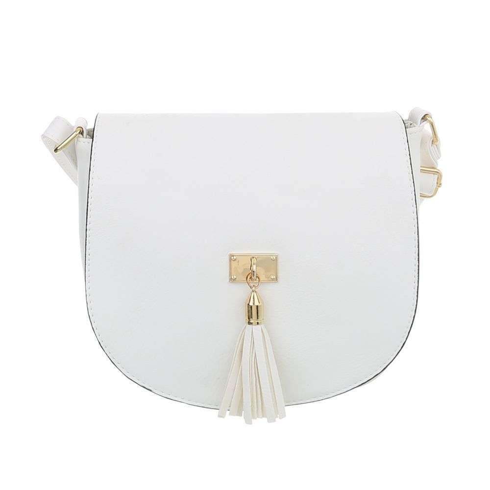 Женская сумка седло с кисточкой (Европа), Белый