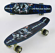 СкейтBest BoardР 13780 пенни борд с рисунком доска 55 см, колёса PU, светятся темно синий
