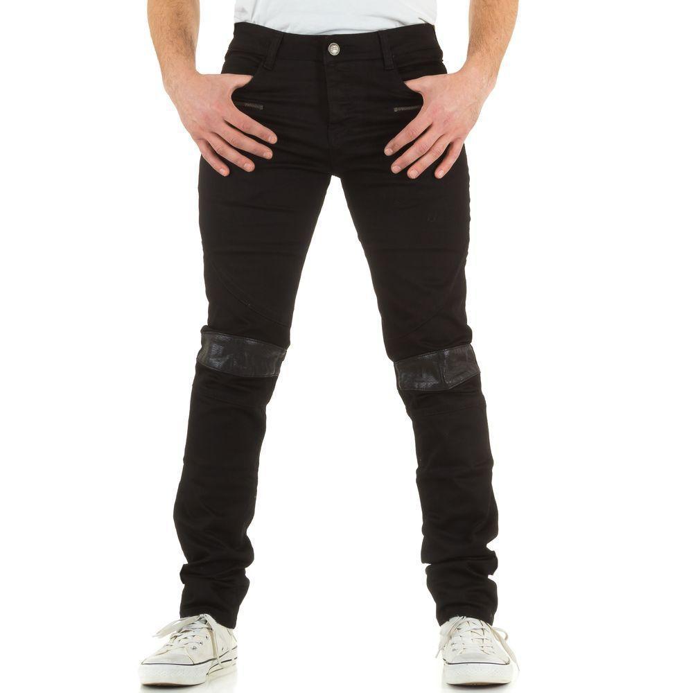 Джинсы мужские с кожаными коленями Sixth June (Европа), Черный