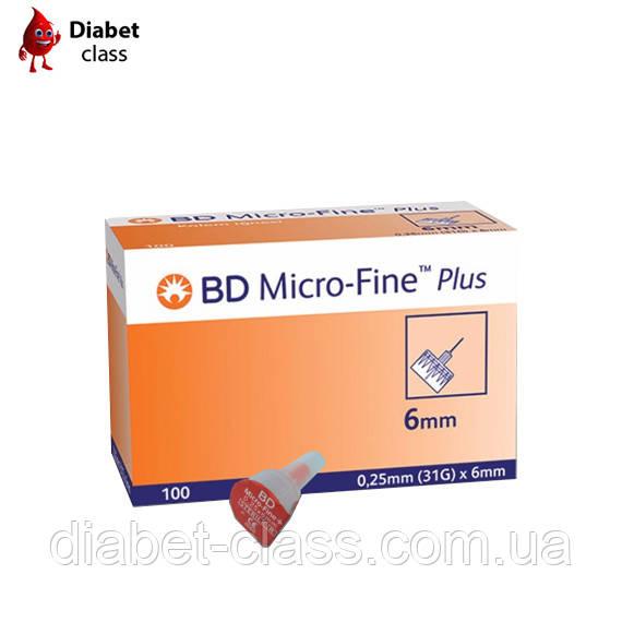 Иглы для шприц-ручек BD Micro Fine Plus 6 mm 100 шт.