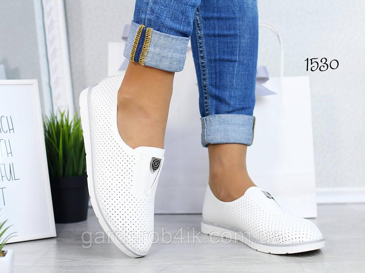 Женские туфли мокасины прессованная кожа