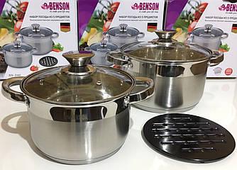 Набор посуды Benson BN-246 5 пр: Кастрюли с крышкой 4.0, 3.0 лтр, Жаропрочная балитовая подставка