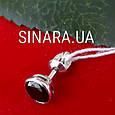 Одна мужская серебряная серьга гвоздик с черным камнем диам. 7 мм - Мужская серьга серебро, фото 3