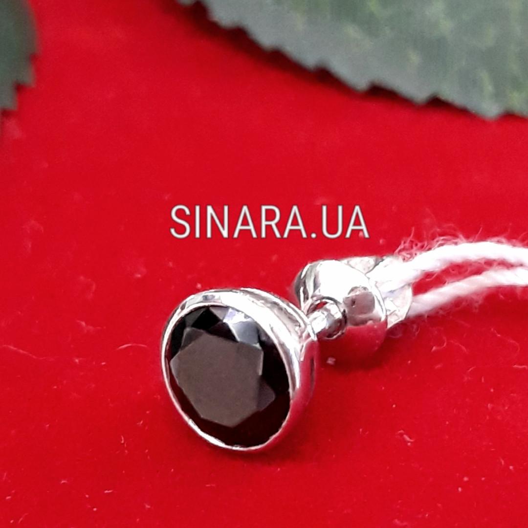 Одна мужская серебряная серьга гвоздик с черным камнем диам. 7 мм - Мужская серьга серебро