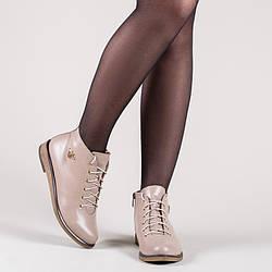 Ботинки низкие  из натуральной кожи бежевого цвета. Цвет под заказ.