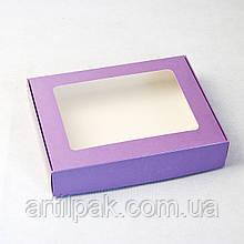 Коробка для пряника 192*148*40 Фіолет з прозорим вікном