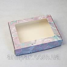 Коробка для пряника 192*148*40 АКВАРЕЛЬ з прозорим вікном