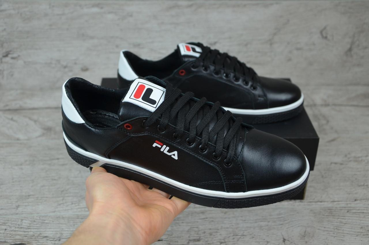 Мужские кожаные кроссовки/кеды черные с белым Fila топ реплика