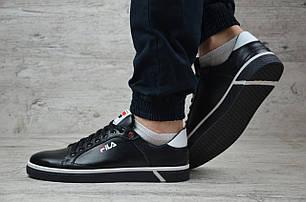 Мужские кожаные кроссовки/кеды черные с белым Fila топ реплика, фото 2
