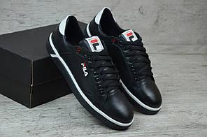 Мужские кожаные кроссовки/кеды черные с белым Fila топ реплика, фото 3