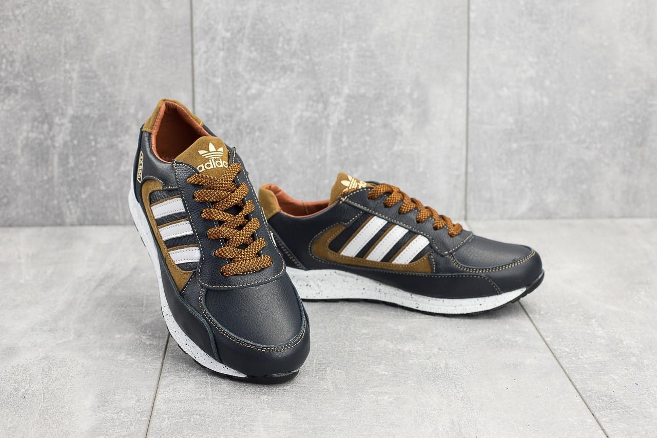 Подростковые кроссовки сине-рыжие Adidas Yuves 85 топ реплика