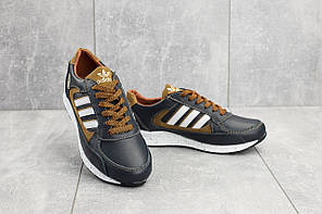 Подростковые кроссовки сине-рыжие Adidas Yuves 85 топ реплика, фото 2