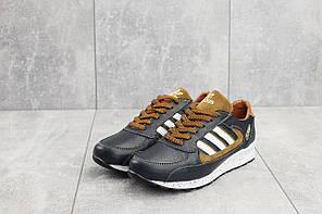Подростковые кроссовки сине-рыжие Adidas Yuves 85 топ реплика, фото 3