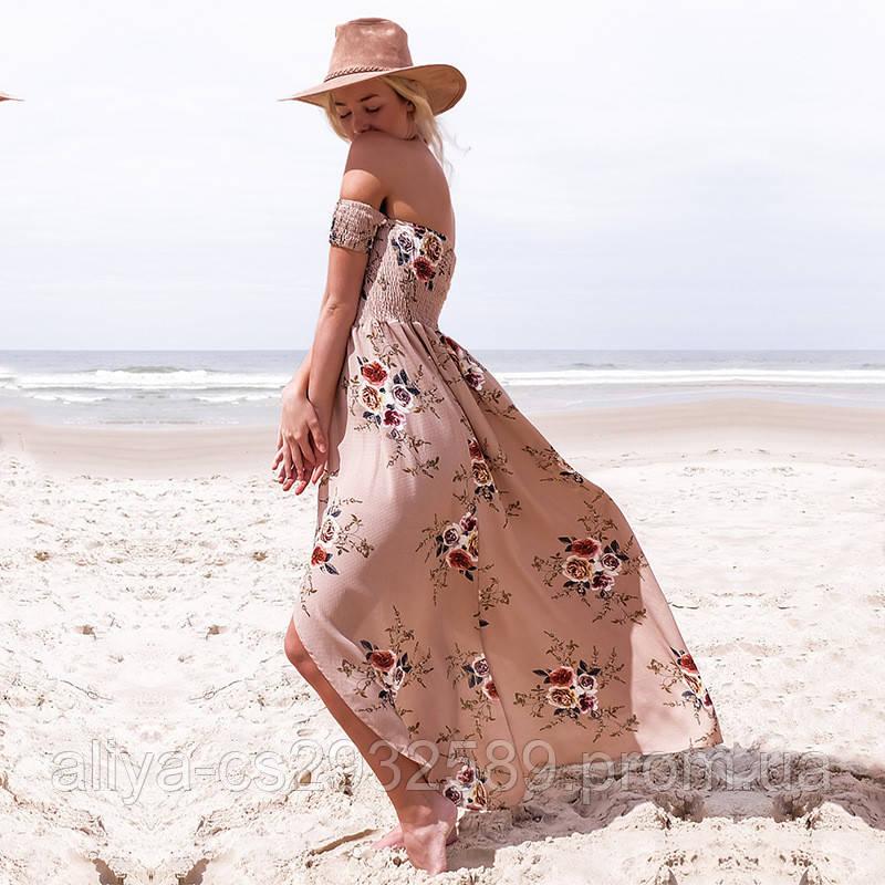 Пляжное бежевое платье длинное AL7788