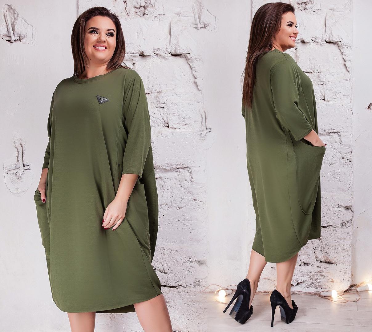 ca620f82281 Женское платье свободный фасон с карманами в стиле Бохо двухнить батал  размер 50-52