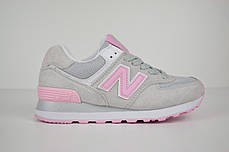 Женские демисезонные кроссовки New Balance 574 серые с розовым топ реплика, фото 2