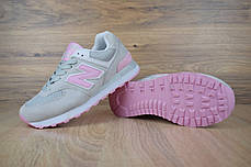 Женские демисезонные кроссовки New Balance 574 серые с розовым топ реплика, фото 3