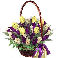 Букет из конфет Корзина с тюльпанами, фото 1